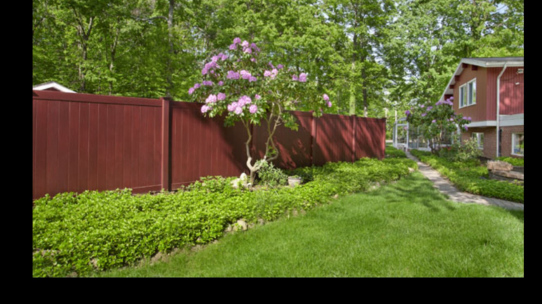 mahogany color vinyl wood grain fence